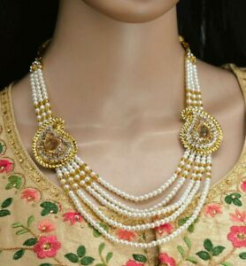 CZ Pearl Golden Color Designer Necklace Earrings  Fashion Jewelry Set Indian