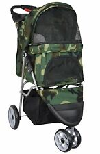 Pet Stroller Cat Dog 3-Wheel Walk Jogger Travel Folding Carrier Deluxe Camo