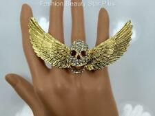 Crystal Large Skull Wings Ring - Gold or Silver