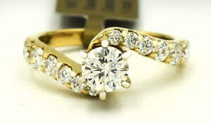 GENUINE 1.60 Cts DIAMONDS ENGAGEMENT RING 14K GOLD *New w/Tag * FREE CERTIFICATE
