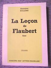 GENEVIÈVE BOLLÈME LA LEÇON DE FLAUBERT JULLIARD LES LETTRES NOUVELLES 1964 ENVOI