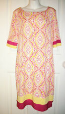 Madison Leigh Size 10 Sheath Dress 3/4 Sleeve White Orange Pink Print Banded Hem