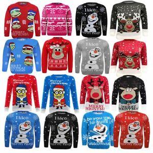 Kids Boy Girl Knitted Christmas Xmas Olaf Minion Chunky Knit Jumper Novelty Top