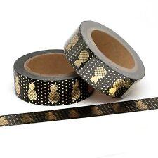 Pineapple Washi Tape Gold Foil Metallic & Black Polka Dots Spots 15mm x 10m