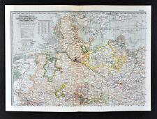 1902 Century Map - German Empire North Germany Berlin Hamburg Westphalia Bremen