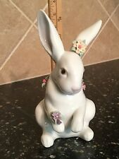 Sitting Bunny Rabbit Adorned With Flowers By Lladro