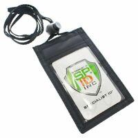 5 pcs Slim ID Badge Holder Neck Wallets w Vertical Front Display & Zipper Pocket