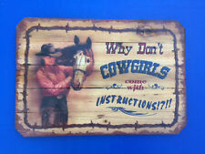 Western Cabin Lodge Barn Stable Decor ~Why Don't Cowgirls ~ Wood Slat Sign