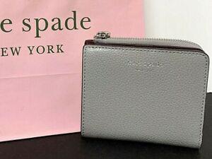 Kate Spade Small L-Zip Bifold Wallet Nimbus Grey New