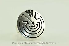 Shield Ring 925 Mexico Sz: 5 Sterling Silver Navajo Man in Maze Circle