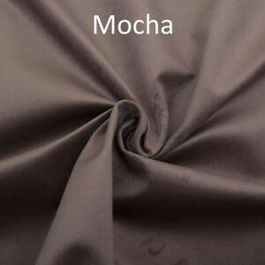 MOCHA Plush Plain FIRE RETARDANT Velvet Upholstery / Curtain Fabric