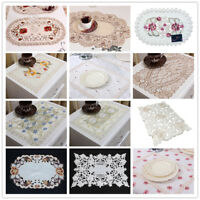 Embroidered Lace Floral Dining Table Placemat Doily Mat Banquet Decor 12x17inch