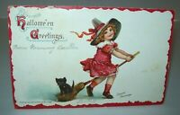Vintage Halloween Postcard Girl & Black Cat Frances Brundage Series 121 Germany