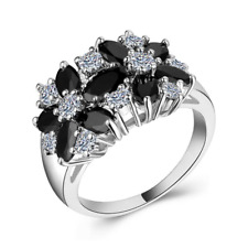 Women 925 Silver Jewelry Engagement Ring 2.05Ct Black & White Sapphire Cz