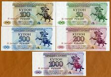 Set Transnistria, 50;100;200;500;1000 Rubles, 1993, Picks 19-20-21-22-23, Unc