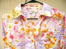 Talbots Usa Made M Pink Red Orange Floral Multi Color Pretty Blouse Shirt Women