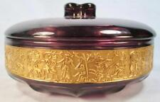 Walther Amethyst Glass Candy Dish Cameo Frieze Chariot Gold Encrusted Vintage O