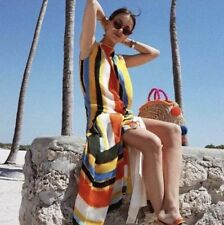 Tory Burch Bettina Striped Silk Midi Dress Belted Wrap RUNWAY S Size 6 $698