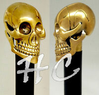 Unique Knob Skull Head Solid Brass Walking Stick cane Victorian Wooden Cane 36""