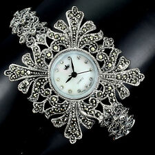 Sterling Silver 925 Ornate Design Genuine Natural Swiss Marcasite Watch 7.5 Inch