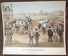 """A Disputed Heat by Thomas Worth Vtg Litho Print 10 x 12"""" Unframed"""