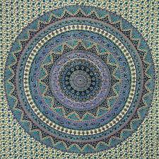 Colcha elefantes flores beige azul turquesa 235x205cm India algodón decoración