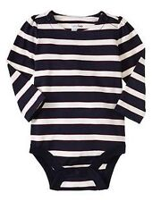 AUTH. BNWT GAP BABY GIRLS STRIPED BODYSUIT, MARINE BLUE (3-6 MOS.)