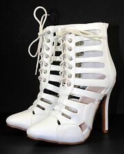"""Tiana-01 Wedge Party Prom Stylish Sandals 4.5"""" High Heel Women Shoes White 8"""
