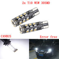 2x T10 LED W5W 501 30LED White Parking Side Light Bulbs Canbus Error Free Xenon