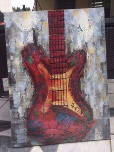 Art Deko handgemalt Bild Gitarre auf Leinwand Keilrahmen Elektro Musik Geschenk