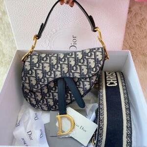 Christian Dior Trotter Pattern Shoulder Saddle Bag Vintage Authentic Navy Gold