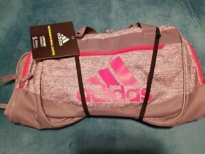 adidas Defender III Small Duffel Bag  Grey Jersey/ Grey/ Real Pink NWT