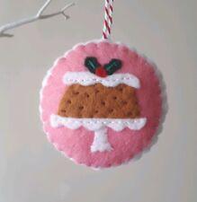 Felt Christmas Cake on Stand Tree hanging decoration handmade hand stitched
