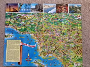 Vintage Bloodgood Pictorial Map Southern California Pic-Tour 1953/1968 Two Sided