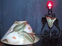 Tole STYLE Floral Hand Painted Calla Lily Tin Shade Table Lamp Hollywood Regency