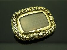 Antique Edwardian 10kt Yellow Gold Ornate Locket Mourning Hair Memento Brooch