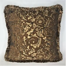 rust brown copper gold floral chenille fringe pillow for sofa chair made usa