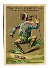 Victorian Trade Card PROVIDENCE FURNITURE RI DANDY FROG in Suit w top hat