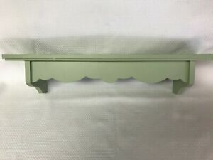"Small 20"" wooden wall shelf Sage Green Shabby Chic"