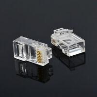 100x Cat5 RJ45 Connectors Cat5E 8P8C Modular Ethernet Cable Head Plug Terminals