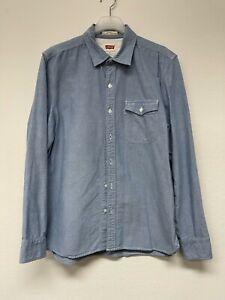 LEVIS Sunset Long Sleeve Blue Pocket Oxford Button Up Workwear Shirt Large
