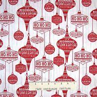 Christmas Fabric - Holiday Traditions Christmas Words White - Henry Glass YARD