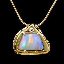 Natural Brazilian Opal Diamond Heavy 14kt Yellow Gold Pendant