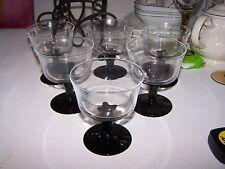 Set of 5 Veronese black cristal d'arques durand sherbet glasses