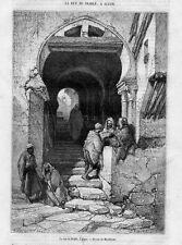 Stampa antica Una Via di ALGERI Algeria 1870 Old Print