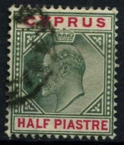 Cyprus  1902-4 SG#50, 1/2pi Green And Carmine KEVII Used #D51593