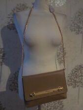 d59c06dc8401 TopShop Cross Body Clutch Bag Caramel Faux Leather Gold Detail & chain  strap.