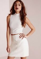 BNWT Missguided Ribbed High Neck White Crop Top Size 14 Night Out Party Summer
