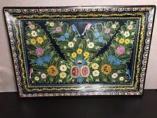 "🌼 Olinala Mexican Folk Art Hand Carved Wood Serving Tray Birds 20"" x 14"""