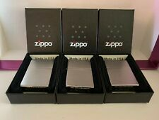 New listing Zippo Satin Chrome Full Size Classic Windproof Lighter-3Pc Lot #M205-New In Box